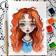 Merida. I love her red curls so much! This baby can be found in my Etsy Link in profile Sold out. Thank you! #doodletimewithkaroline #merida #brave #wstercolor #postcard #etsy #disneyprincess