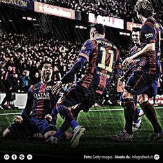 Barcelona celebration, Suarez, Messi, Neymar, Rakitic