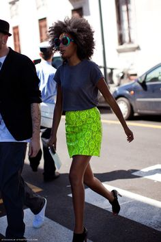 NEON Summer 2012- Balance out a bright skirt with a muted palate for the rest of the outfit. Throw on some fun shades if you're feeling playful!