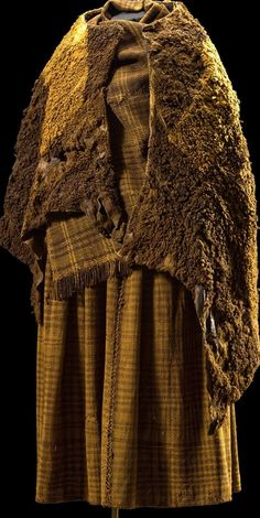 This REALLY vintage!! ~ Iron Age clothes. The Woman's remains had been preserved in a bog in Denmark. ~ that plaid cloth is amazing for Iron Age, isn't it?