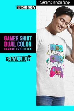 Dual Color Gaming Evolution - Gamer Shirts | A collection of gamer shirts created for gamers, YouTube gamers, Fortnite, Roblox, Panda Lovers and more. From The brands Just Gaby Gaming, Jays Xtreme Gaming, and Kenal Louis. ( Gamer Shirts, Gamer Shirt, Gamer T Shirt )#gamer #tshirts #shirts Funny T Shirt Sayings, T Shirts With Sayings, Funny Tshirts, Boys Shirts, Cool T Shirts, Gamer Shirt, Cute Games, Order T Shirts, Cool Graphic Tees
