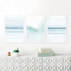 A set of 3 beautiful watercolour prints with pale blue and white tones that you can download instantly, giving you the flexibility to print at a variety of sizes up to 24 x 36 inches. Perfect for your beautiful home.