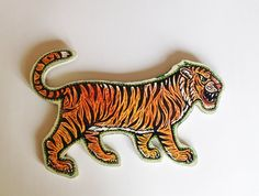 Tiger Painted Woodblock Print Mounted on Wood by HorseAndHare, $65.00
