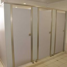 Image result for stainless steel and wood bathroom partitions