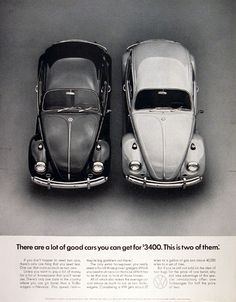 1967 Volkswagen Beetle original vintage ad. There are a lot of cars you can get for $3400. This is two of them. MSRP $1,639 p.o.e.