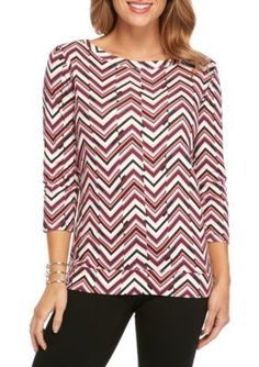 Kim Rogers  Ribbed Boat Chevron Knit Top