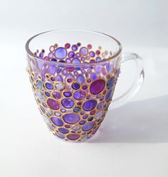 Hand painted Sun catcher Initial Coffee Mug, Coloured Bubbles Glass Mug  This is a bright glass coffee mug with hand painted funny bubbles in violet and