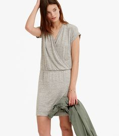 Primary Image of Lou & Grey Slinky Crossover Blouson Dress