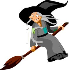 iCLIPART - Royalty Free Clipart Image of a Witch and Broomstick