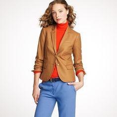 J.Crew - Wool Flannel Schoolboy Blazer in Camel + Blood Orange Cashmere Turtleneck