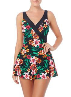 Get ready for summer with this floral wrap swimsuit. In black with a vivid multicoloured print, this elegant piece features a delicate skirt design for a stylish poolside look. Multicoloured Floral Wrap Swimsuit Skirt design Floral print With tummy control Model's height is 5'11