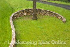Retaining Wall Curves Around Mature tree | Mulch & Edging Gallery
