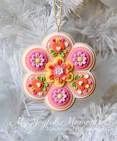 Handcrafted Polymer Clay Floral Snowflake by MyJoyfulMoments