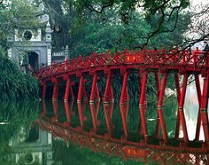 Hanoi, Ho Kiem Bridge & Lake...so many runaways lived here and sold postcards.