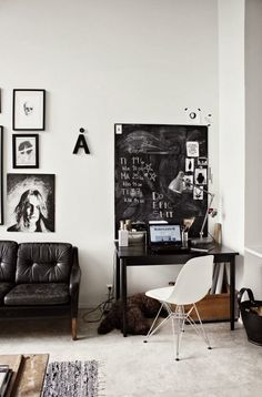 The black and white workspace of a Finnish blogger
