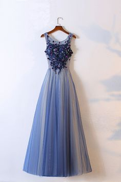 Beautiful blue tulle prom dress with lace appliques, ball gown 2017