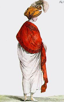 Red shawl with Greek key border, contrasting with white Directoire gown, from ''Costume Parisien'', 1799