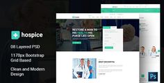 Hospice Medical PSD Template . look with flat, clean and clear design that will make your website difference from others. In line with Modern Design Trends, Color Fresh and
