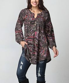 Love this Black & Pink Paisley Notch Neck Tunic - Plus on #zulily! #zulilyfinds