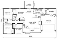 4 Bedroom Ranch House Plans | Plan W26331SD: Ranch, Traditional House Plans & Home Designs