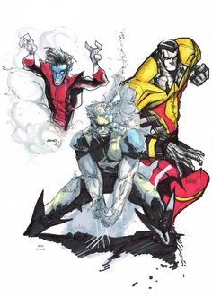 Wolverine by Clay Mann, Nightcrawler by Humberto Ramos, and Colossus by Francisco Herrera