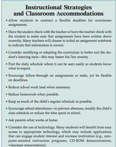504 Accomodation Checklist | 504 layouts | Pinterest ...