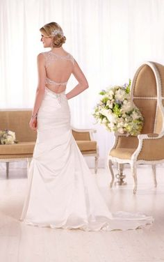 D2071 Luxe Satin A-Line Wedding Gown by Essense of Australia