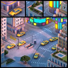 I modeled this for a prerendered isometric online game. I created this in Autodesk Maya The final lighting, shading and texturing was done by Jerem. New York City, USA Isometric Map, Isometric Design, Game Environment, Environment Concept Art, Environment Design, Level Design, Low Poly Models, Low Poly 3d, Building Art
