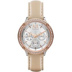 Armani Exchange Ladies' Crystallized Rose Gold-Tone & Leather Watch - product - Product Review