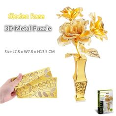 Piececool Gloden Rose 3D Metal Puzzle Romantic 3D Metallic Laser Cut Model Jigsaws Miniature 3D Puzzle for Lover Gift Adult Toys