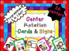 Programmable Center Signs and Cards (bright polka dots) 2 in 1 set. This product contains a complete center chart kit. It contains 2 documents - 1 is a pdf of that entire unit that is ready to print. The other document is in powerpoint and it completely programmable (depending on what you call your centers! :0) I have included a total of 26 centers in large, medium, and small sizes that are perfect for pre-k, kindergarten, and first grade. It also contains grouping cards for centers as well i