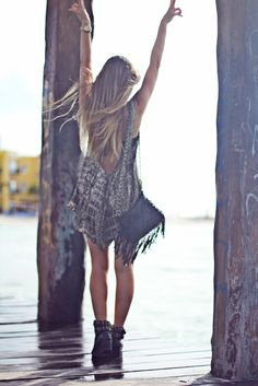Reptile print & leather. Edgy boho beach wear.