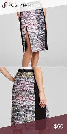 """BCBGMAXAZRIA- Grayce Pencil skirt. Size 6 Sits below the waist. Banded waistline. Split front detail. Contrast trim. Pencil skirt silhouette. Hits at the knee. Concealed center back zipper with hook-and-eye closure. Lining: Cotton, Nylon, Spandex. Measures approximately 26"""" from waist to hem. BCBGMaxAzria Skirts"""