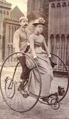 victorian couple on a tandem bicycle. our first tandem bike?