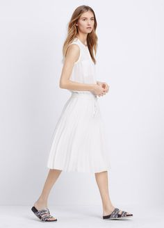 Pleated Dress With Drawstring