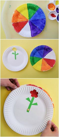 The best thing, this is incredibly easy to make and you can totally make this together with your child! Baby Learning Toys, Rainbow Paper, Rainbow Star, Crafts For Kids To Make, Kids Crafts, Rainbow Painting, Flower Plates, Paper Tags, Learning Colors