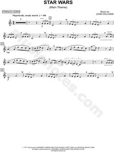 Print and download Star Wars (Main Theme) - Horn sheet music from Star Wars arranged for French Horn. Instrumental Solo in C Major.