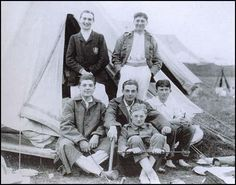 Roland Leighton is on the left of the front row at the OTC camp in 1913.