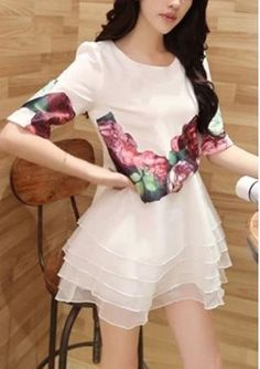 Women's round neck half sleeve floral printing shirt with layered hem organza dresses suit