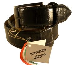Black leather belt for men, made in Italy