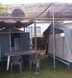 Touring Caravan & Awning For Sale On Camping Benisol Campsite In Benidorm, Costa Blanca, Spain. Touring Caravans For Sale, Caravan Awnings, Rectangular Pool, Italian Garden, Silhouette Art, Terrace Garden, Sale On, Campsite, Camping