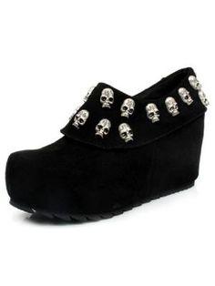 England Retro Skull Increased Wedge Heel Platform Shoes  www.choies.com