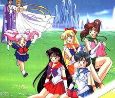 King Endymion, Neo Queen Serenity, Chibiusa, Sailor Venus, Jupiter, Mars and Mercury