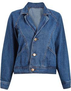 Blue Lapel Long Sleeve Buttons Crop Denim Jacket US$32.79