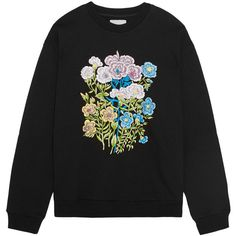 Christopher Kane Floral embroidered cotton-jersey sweatshirt ($480) ❤ liked on Polyvore featuring tops, hoodies, sweatshirts, christopher kane, sweaters, cotton jersey, embroidered top, wet look top and christopher kane sweatshirt