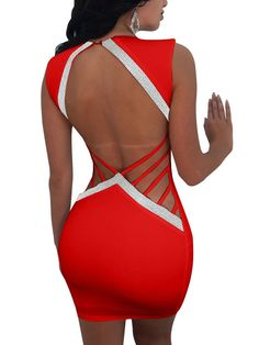 Adogirl Sliver Trim Backless Hollow Out Night Club Dress Sexy Deep V Neck Sleeveless Bodycon Mini Party Dresses Cheap Vestidos Backless Mini Dress, Sequin Mini Dress, Bodycon Dress, Cheap Party Dresses, Sexy Party Dress, Casual Dresses For Women, Sexy Dresses, Christmas Dress Women, Club Dresses