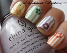 striped skittles nails