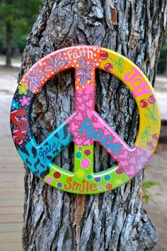 """Colorful Hand Painted Peace Sign 12"""". $32.00, via Etsy."""