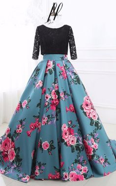 Prom Dress Princess, Prom Dresses Two Piece Black Lace and Floral Prom Dress Half Sleeves Shop ball gown prom dresses and gowns and become a princess on prom night. prom ball gowns in every size, from juniors to plus size. Floral Prom Dresses, Prom Dresses Two Piece, Elegant Bridesmaid Dresses, Indian Gowns Dresses, Half Sleeve Dresses, Indian Fashion Dresses, Evening Dresses, Half Sleeves, Short Sleeves