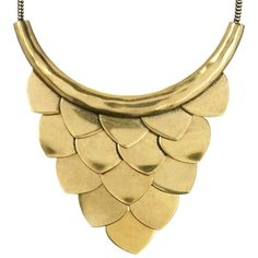 "*Gold Layered Scales Metal Bib Necklace* Scale it up with this metal bib of overlapping smooth Russian gold scales on a foxtail chain. Hangs from lobster clasp with 2"" extender and c+i bird logo tag $98"